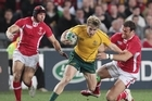 Australia's James O'Connor in action against Wales. Photo / Greg Bowker