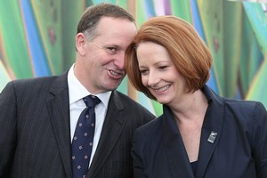 Australian Prime Minister Julia Gillard has told John Key she will eat a New Zealand apple after a Rugby World Cup bet between the two. Photo / Greg Bowker