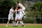 Waitakere players celebrate a goal. File photo / Dean Purcell