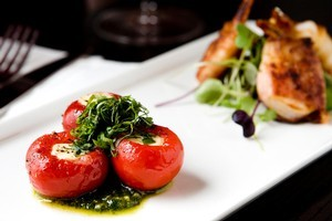 Stuffed small red peppers and prawns wrapped with bacon at Jax Wine Bar. Photo / Babiche Martens