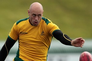 The Wallabies are determined that Nathan Sharpe's landmark 100th test will not be a flop. Photo / Brett Phibbs