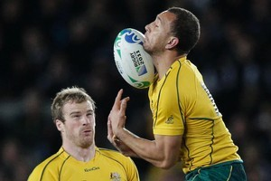 Quade Cooper, here fumbling the high ball, has been in poor form. Photo / Brett Phibbs