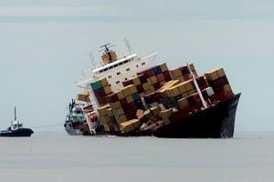 The stricken cargo ship Rena. Photo / Alan Gibson