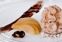 Nitro chocolate mousse with pear and crusted almonds at Fish at the Hilton. Photo / Babiche Martens