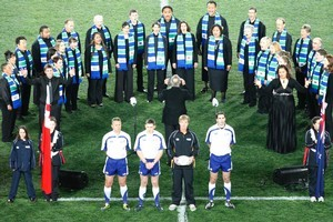 The choirs singing the anthems at the Rugby World Cup have been made up of 30 local singers at each of the match venues. Photo / Richard Robinson