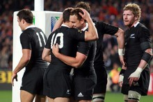 The All Blacks celebrate. Photo / Janna Dixon