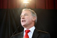Labour Party leader Phil Goff and labour issues spokeswoman Darien Fenton launched the party's work and wages policy today. Photo / Natalie Slade