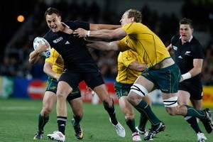 Israel Dagg was causing problems for the Australian defence right from the opening whistle. Photo / Ron Burgin