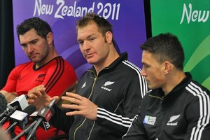Stephen Donald (L), Ali Williams and Sonny Bill Williams of the All Blacks speak to media at Trusts Stadium. Photo / Getty Images
