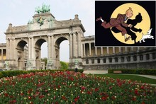 'Tintin' (inset) obsessives will find plenty of references to Herge's books in Brussels if they go looking for them. Parc du Cinquantenaire serves as a backdrop to an early scene in 'King Ottokar's Sceptre'. Photos / Thinkstock, Supplied