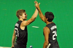 Stephen Jenness and Arun Panchia of New Zealand celebrate a goal against India. Photo / Getty Images