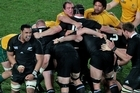Jerome Kaino celebrates a penalty out of a scrum against the Wallabies. Photo / Richard Robinson