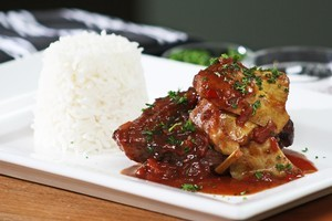 Braised lamb neck chops in plum sauce. Photo / Supplied