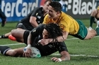 Ma'a Nonu scores the opening try for the All Blacks. Photo / Brett Phibbs
