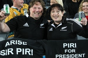 All Black fans cheers on their side during the Rugby World Cup semifinal. Photo / Greg Bowker