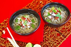 Soba chicken soup with fried shallots. Photo / Babiche Martens