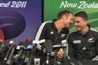All Blacks Ali Williams and Sonny Bill Williams share a humorous moment at a Rugby World Cup press conference and Sonny Bill reveals the meaning behind his elaborate handshake with Israel Dagg during the semi-final match against Australia.