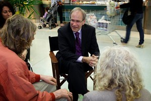 Auckland Mayor Len Brown doing one of his monthly Mayor in the chair sessions at the Highbury Shopping Centre, Birkenhead. Photo / Sarah Ivey