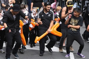 Piri Weepu of the All Blacks dances during the Rugby World Cup celebration parade. Photo / Getty Images