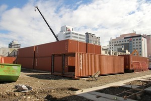Shipping containers in Cashel Mall. The 'pop-up' mall has been threatened with legal action from a similar development in London. Photo / NZ Herald