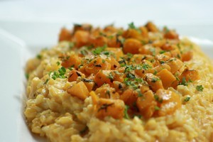 Roast pumpkin risotto. Photo / Supplied