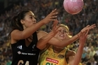 Maria Tutaia (L) of New Zealand contests with Laura Geitz of Australia. Photo / Getty Images