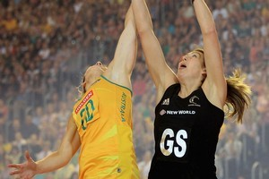Irene van Dyk (R) and Australia's Julie Corletto battle it out during the Constellation Cup game. Photo / Getty Images