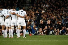 The French stand shoulder to shoulder as the All Blacks perform the haka. Photo / Dean Purcell