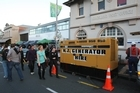 Shops with out power had generators brought in as Rugby fans gather before the final match. Photo / Greg Bowker