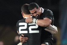 Jerome Kaino's leap of joy reflects the emotion of his teammates, who had to struggle against a tenacious French side to end the All Blacks' 20 years of World Cup drought. Photo / Greg Bowker