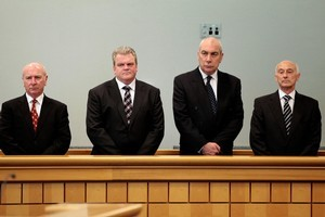 (L- R) Rodney Michael Petricevic, Cornelis Robert Roest, Gary Kenneth Urwin and Peter David Steigrad, stand in the dock at the Auckland High Court this morning. Photo / Brett Phibbs