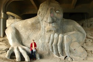 The monster concrete troll can be seen during a bike tour. Photo / Supplied