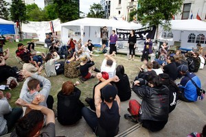 Occupy Auckland protesters gathered in Aotea Square earlier this month. Photo / Sarah Ivey