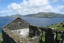 Blasket Island's steep green hills are now home to only the rabbits and sheep. Photo / Greg Dixon 
