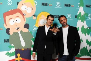 Matt Stone, left, and Trey Parker write hte show for hte 9-year-olds inside them. Photo / AP