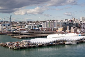 Party central, on Queens Wharf, Auckland. Photo / Richard Robinson