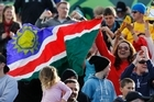 Namibia fans show their support in Rotorua. Photo / Christine Cornege