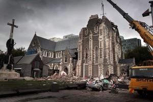 The quake-crippled Christchurch Cathedral is to be deconsecrated ahead of partial demolition. Photo / Herald on Sunday