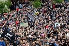 Thousands turn out to watch the All Blacks Rugby World Cup celebration parade. Photo / Sarah Ivey