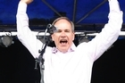 Auckland City Mayor Len Brown on stage at the St Jerome's Laneway Festival at Aotea Square. Photo / NZ Herald