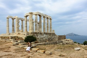 The Temple of Poseidon, at Cape Sounion, is still magnificent - despite taking a battering over the centuries. Photo / Jim Eagles