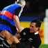 Aaron Cruden of the All Blacks lies on the ground and receives medical attention before being taken off. Photo / Getty Images