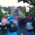 Fans gather as they journey to Eden Park down Bond Street. Photo / Herald online