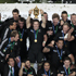 The All Blacks celebrate their win. Photo / Richard Robinson