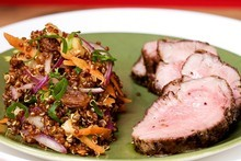Horopito rubbed lamb with quinoa raisin carrot salad. Photo / Babiche Martens