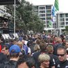 Fans navigate the Auckland viaduct ahead of the Rugby World Cup final. Photo / Cassandra Mason