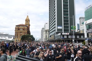 Auckland's Quay St is already packed out ahead of tonight's Rugby World Cup final. Photo / Cassandra Mason
