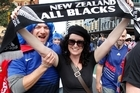 Fans in central Auckland ahead of the Rugby World Cup final game between New Zealand and France. Photo / Steven McNicholl