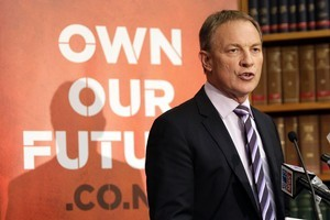 Labour leader Phil Goff during the party's savings policy announcement at Parliament today. Photo / Mark Mitchell