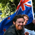 Fans celebrate the All Blacks win in London. Photo / Claudia Jones